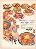 1955 ORIGINAL VINTAGE BETTY CROCKER BISQUICK PANCAKE FLOUR MAGAZINE AD