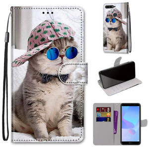 For Huawei Honor 8X Cute Painted Magnetic Leather Flip Wallet Bracket Case Cover