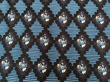 Liberty Silk Twill 100%, 'Astor' Blue/Black (per metre) dress fabric, sewing