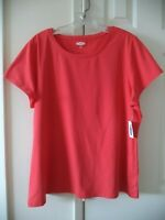 Must Have Old Navy Orange Red Guava Modal Cotton Tshirt Knit Top 1X 18 20 2X XXL