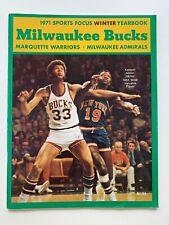 1971 NBA World Champion Milwaukee Bucks Sports Focus Winter Yearbook.
