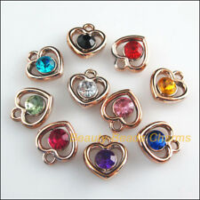 20 New Charms Mixed Acrylic UV Heart Circle KC Gold Plated Pendants 13x14mm