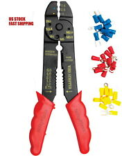 8 Inch Crimping tool w/60 Pcs terminals electrical wire terminations connection