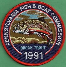 Pa Pennsylvania Fish Game Commission NEW PREMIER ISSUE 1991 Brook Trout Patch