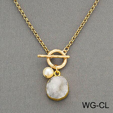 Gold Chain Bohemian Style Hammered Ring Pearl Yellow Druzy Stone Pendant