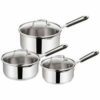 Jamie Oliver by Tefal 3 Piece Saucepan Set Cookware Stainless Steel Induction