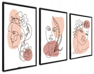 A4 Set of 3 Modern Wall Art Prints Living Room Bedroom Faces Unframed Pictures