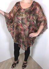 Tunic Top Leopard Tiger Print Stretchy Silky Brown Pink Plus Size 16-22 NEW