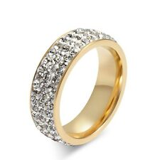 Gold Plated Stainless Steel CZ Ring Women Men Engagement Wedding Band Size 6-13
