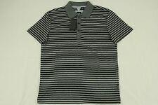 BNWT Hugo Boss Gray Black Striped Polo 100% Cotton Authentic GR-Borello sz S