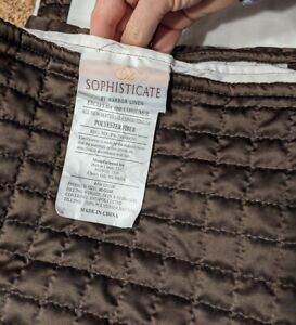 """Bed Skirt Dust Ruffle Square Quilted Chocolate 14"""" Drop Full XL by Harbor Linen"""