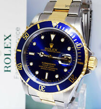 ** Rolex Submariner 18k Gold & Steel Mens 40mm Automatic Dive Watch U 16613 **