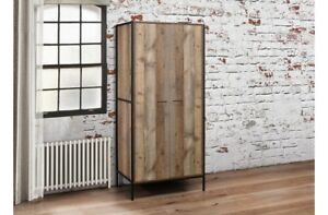 Rustic 2 Door Wardrobe Industrial Chic Wood Metal Wardrobe Inner Storage Shelf