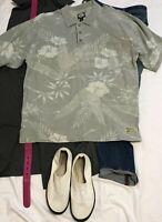 TOMMY BAHAMA Mens Polo Shirt OLIVE FLORAL COTTON Short Sleeve GOLF SHIRT XL