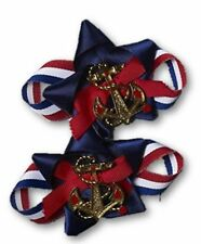Lady In The Navy Shoe Clips Patriotic Anchor Set Bows Adult Costume Accessory