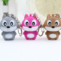 Squirrel LED Keychains Keyrings with Sound Key Pendant Mini Flashlight Kids Toy