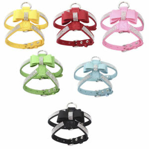 Rhinestone Dog Harness Leather Bow Tie Bling Diamante Collar Crystal Pet Puppy