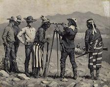 Native American Indian Surveying Land Remington Painting Real Canvas Art Print