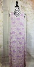 DKNY womens sleeveless maxi dress floral print size 6 semi sheer stripes b22