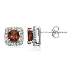 Sterling Silver 2.75ct Garnet & White Topaz Cushion-Cut Stud Earrings