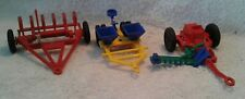 3 Vintage Ideal Plastic Farm Implements Hay Mower / Planter Seed Sower Tiller