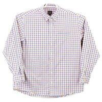 Jos A Bank Traveler's Collection Collared LS Size XL White Blue Orange Check euc