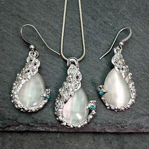 Peacock Silver Plated White Opal Rhinestones Teardrop Necklace & Earrings Set