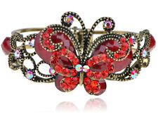 Vintage like Ruby Fire Crystal Rhinestone Butterfly Fashion Cuff Bracelet Bangle
