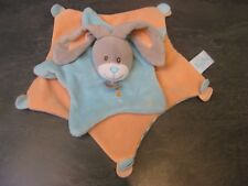 doudou lapin gris bleu orange rayure baby nat'