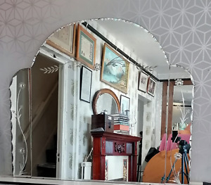 Very large 3 piece art deco style Bevel edge mirror floral design. Ref 2466