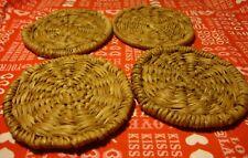 "New listing Vintage Woven Straw Basket Holder 4 Pc Set Coasters 4"" Kitchen Bar Decor 360"