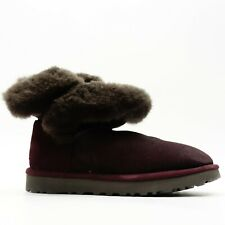 New UGG Classic Womens US 7 EU 38 Fold Suede Wine Winter Low Boots