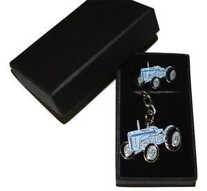T20 Grey Vintage Tractor Keyring & Pin Badge Set Farming GIFT Set Boxed Enamel