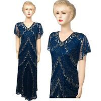 New Womens Navy Blue Sequin Beaded Vintage Evening Long Dress Plus Size 24 to 30