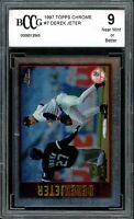 1997 Topps Chrome #7 Derek Jeter Card BGS BCCG 9 Near Mint+