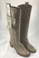 Chloe Tall Leather Boots in Taupe Size 38.5
