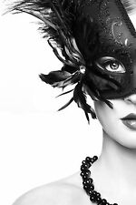 STUNNING MASQUERADE BALL PARTY MASK CANVAS PICTURE #33 WALL HANGING ART A1
