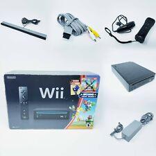 Nintendo Wii Black Console RVL-101 - Mario Bundle - Tested Working