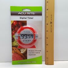 RED AcuRite Digital Kitchen Timer w/ Large Display & Magnetic Back Count Down Up