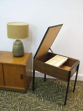 Retro Bedroom Stool, Vintage Avalon Teak style, black vinyl. Northants