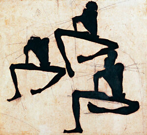 Composition with Three Male Nudes by Egon Schiele A2+ High Quality Art Print