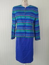 Adrianna Papell SAFE SILK 100% silk electric blue Skirt Suit 16