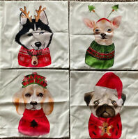 Set of 4 Throw Pillow Covers Merry Christmas Decorative Dog Reindeer New