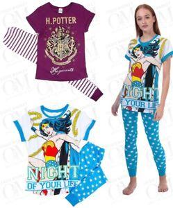 Girls Harry Potter Wonder Woman Pyjamas Pjs Nightwear Loungewear Marvel Woman