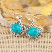 Ethnic Turquoise 925 Sterling Silver Drop Earrings Indian Jewellery