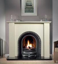 Large White Solid Marble Arch Fire Surround Fireplace Mantle - RRP £399.99
