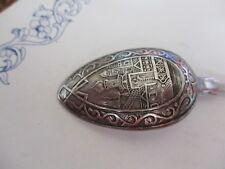 """Antique 1871 RUSSIAN STERLING SILVER Souvenir 4 3/4"""" Spoon REPOUSSE - Exquisite!"""