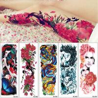 Waterproof Body Art Body Leg Decal Temporary Tattoo Stickers Full Flower Arm
