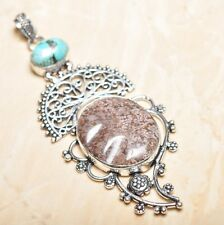 Natural Artesanal Océano Jaspe Piedra Preciosa colgante de plata ley 925 9.5cm