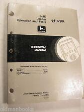JOHN DEERE 244E LOADER OPERATIONS TESTS TECHNICAL MANUAL TM1502